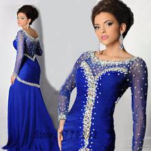 Abendkleider Special Design Bling Crystal Mermaid Prom Dress Black Crystal Royal Blue Mermaid Long Sleeve Evening Dresses(China (Mainland))