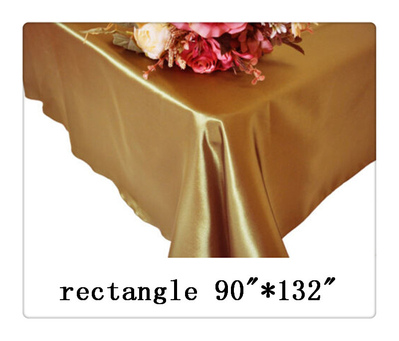 """Free shipping rectangle tablecloth size 90""""*132"""" color golden for wedding decoration hotel table cloth(China (Mainland))"""