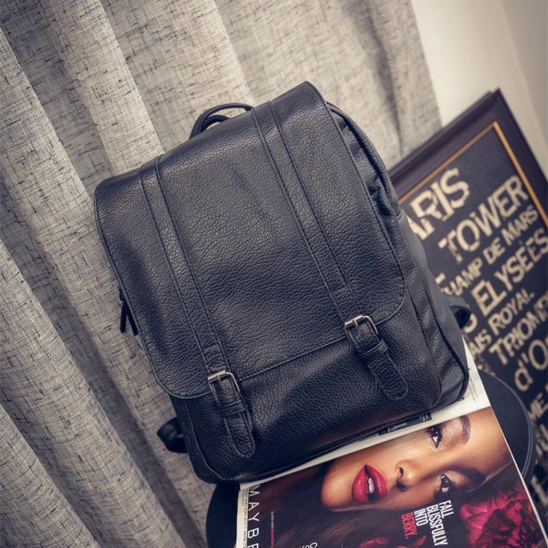 Vintage Leather Backpack Mochila Plegable Square Back Pack Fashionable School Bags For Teenage Girls Waterproof Harajuku Black<br><br>Aliexpress