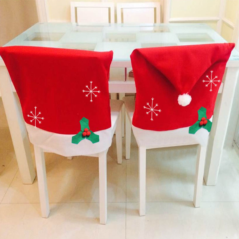 New Christmas decoration navidad Party giftd Santa Claus Red Hat Chair Back Covers for Christmas Party Home ues hot sale(China (Mainland))
