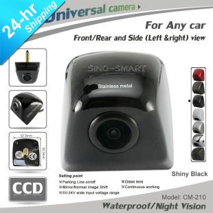 In stock free shipping universal HD CCD side view parking camera night vision waterproof stainless metal cover 7colors for Volga(Hong Kong)