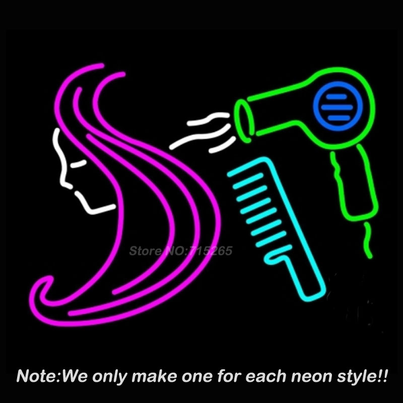 Barber Shop Hair Logo Salon Neon Sign Recreation Room Windows Handcraft Neon Bulbs Glass Tube Store Display Gift Commercial17x14(China (Mainland))