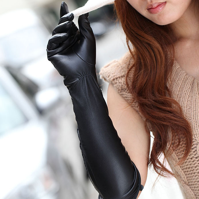 L082NN Hot Sale 45CM Long Genuine Leather Gloves Ladies Spring Long Style Slim Fit Banquet Leather Gloves Elbow Sheepskin Gloves(China (Mainland))