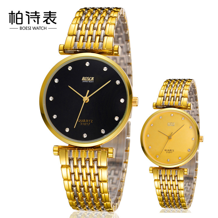 BOSCK Bai Poetry International Table Men between lovers alloy thin gold chain explosion models waterproof gift watches 31017(China (Mainland))