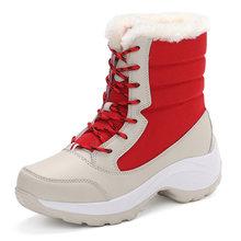 Giày Bốt Nữ Lông Ấm Áp Mùa Đông Giày Bốt Thời Trang Nữ Giày Nữ Phối Ren Nền Tảng Mắt Cá Chân Giày Chống Nước Ủng Chống Trơn Trượt giày Lười N(China)