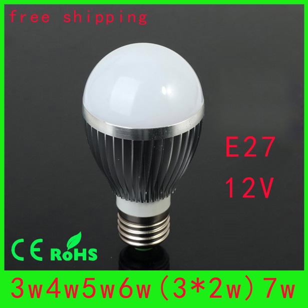 Free shipping (10pieces/lot)led bulb light e27 12v 3W/4W/5W/6W/7W LED Bulb Lamp white/warm white AC/DC12V wholesale(China (Mainland))