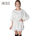IRISIE Apparel White Fringe Hem Tie Waist Dress Women Clothing Casual Loose Boho Female Vestido Sweet