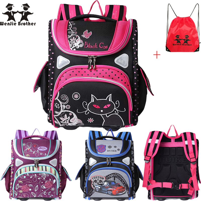 wenjie brother top children's Backpack foldedschool backpack orthopedic Children School Bags for boys and Girls mochila infantil(China (Mainland))