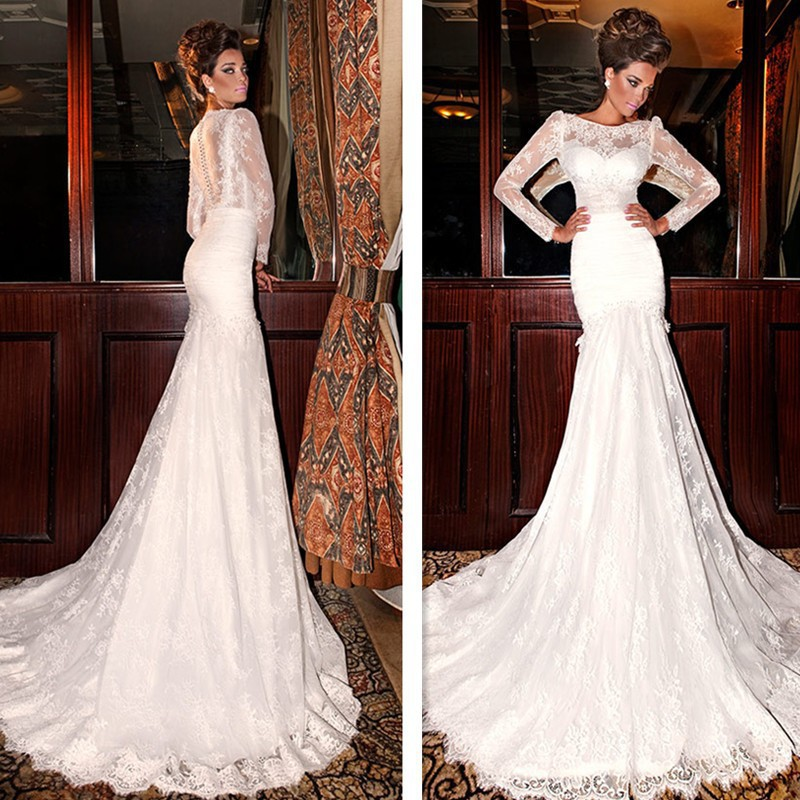 Elegant Sheer Long Sleeve Lace Wedding Dresses 2015 mermaid Bridal Gowns Dubai Arabic Design court train vestidos de noiva()
