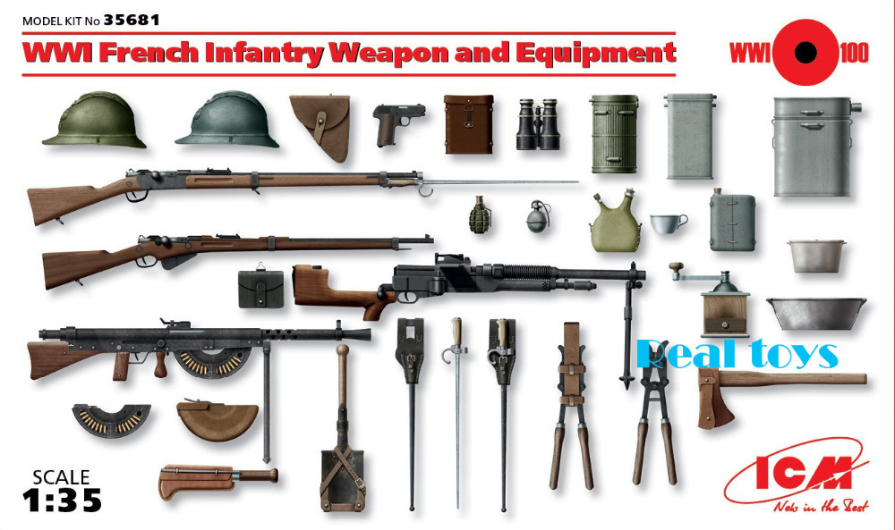 New Arrivial! ICM model 35681 1/35 WWI French Infantry Weapon and Equipment plastic model kit(China (Mainland))
