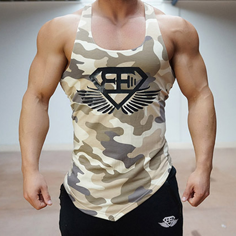 Fitness Men Tank Top Army Camo Camouflage Mens Bodybuilding Stringers Tank Tops Singlet Brand Clothing