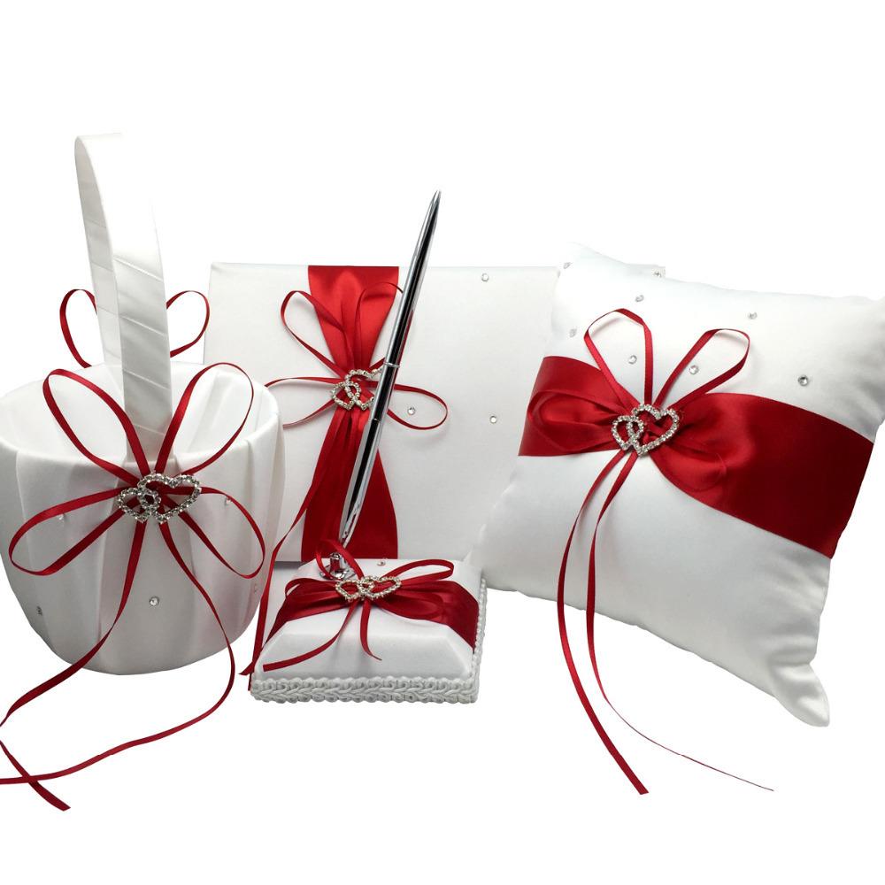 4Pcs Set Red Wedding Decoration Bridal Satin Ring Pillow Flower Basket