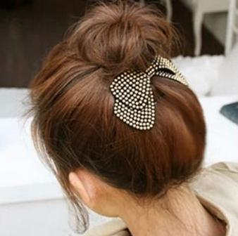 New Winter Hair Accessorie Solid Thick Cloth Bow Barrette Clip The Top Spring Clip Ponytail 619KKF(China (Mainland))
