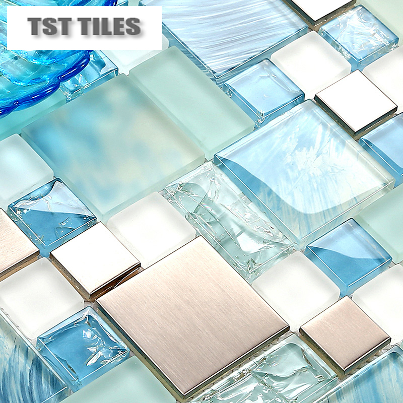 Modern Sale 11sheets Lot Blue Sea Glass Kitchen Tiles