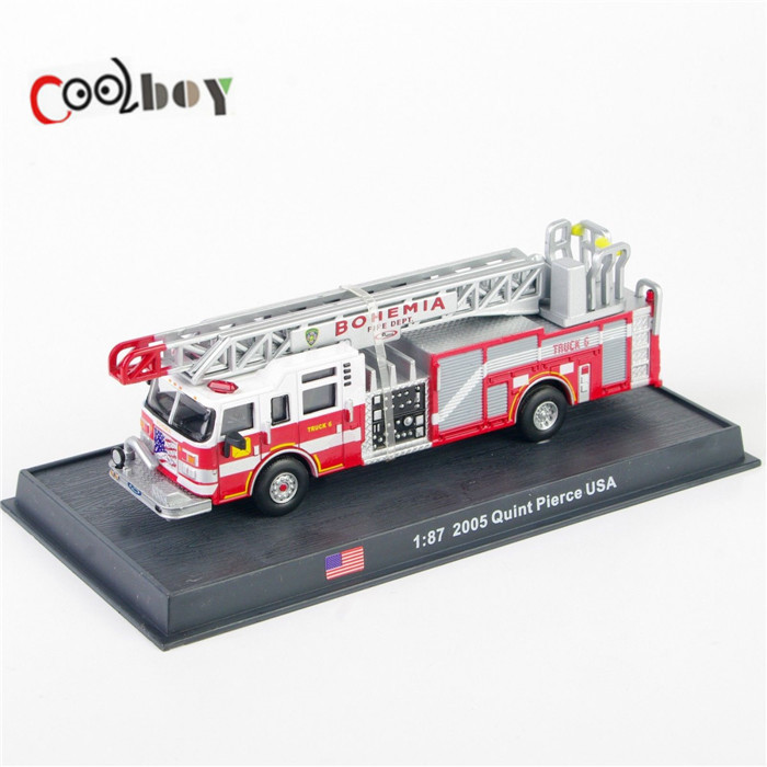 1:87 Scale Models 2005 Quint Pierce USA Bohemia Miniature Trucks Diecast Fire Truck Model Toys Red/Silver for Collection(China (Mainland))