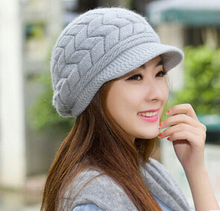 Warm Autumn and Winter Female Short-brimmed Cap High Imitation Rabbit Fur Hat Women Cool Fashion Wool Beanie(China (Mainland))