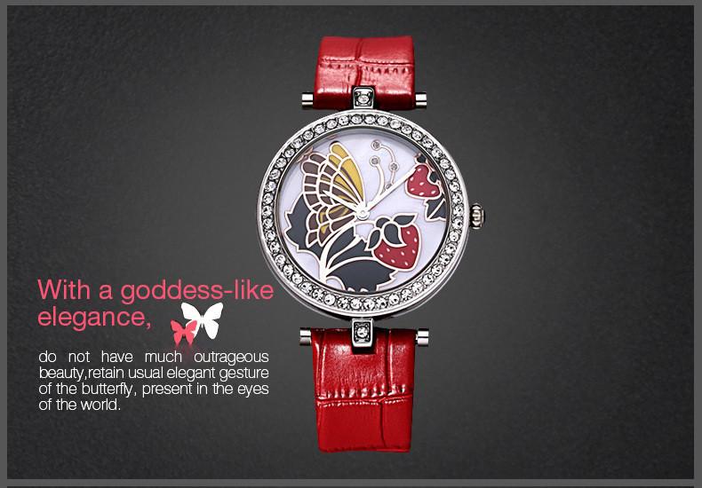 Бренд Время История Моды Роскошные 3D Бабочки Резные женские Часы Дамы Японии Кварцевые Часы Натуральный Кожаный Ремешок Горный Хрусталь