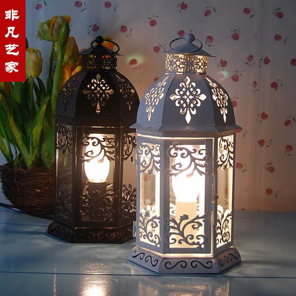 Mediterranean Style Retro White Wrought Iron Table Lamp