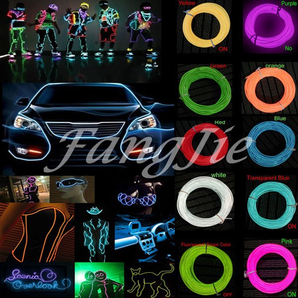 10 Colors selected 5m 15FT EL Wire Tube Rope Flexible Neon Light Car Party Wedding Decoration + Battery Powered Controller(China (Mainland))