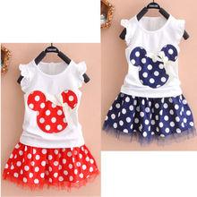 2Pcs NEW Toddler Baby Girls Kids Princess Party Cartoon Mouse Dress Dot Dresses(China (Mainland))