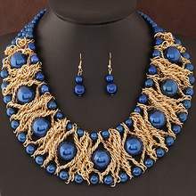 Boutique Jewelry Sets For Women Gold Plated African Beads Jewelry Set Party Accessories Necklace Earrings Set Wholesale(China (Mainland))