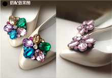 Free shipping 2 pcs/lot of Manual gem detachable crystal shoe buckle shoes clip deserve to act the role of candy color flowers(China (Mainland))