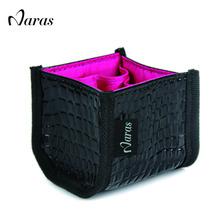 Naras brand Makeup Brush set bag beautician Make up set Leather bag makeup vanity case pu cosmetic bag 8cm*8cm(China (Mainland))