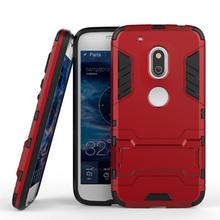 Броня Обложка Case for Moto G4 Play Назад Случаи Мобильного Телефона для Motorola Moto G4 Play Охватывает PC ТПУ Анти стук Case С Kickstand(China (Mainland))