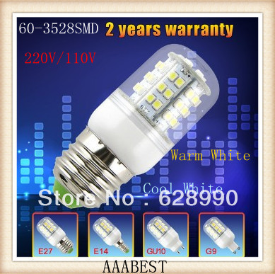 E27 E14 GU10 G9 AC110V/220V 6W 60LED 3528 SMD White/Warm White Mini LED Corn Lamp Spot Light  -  Card store