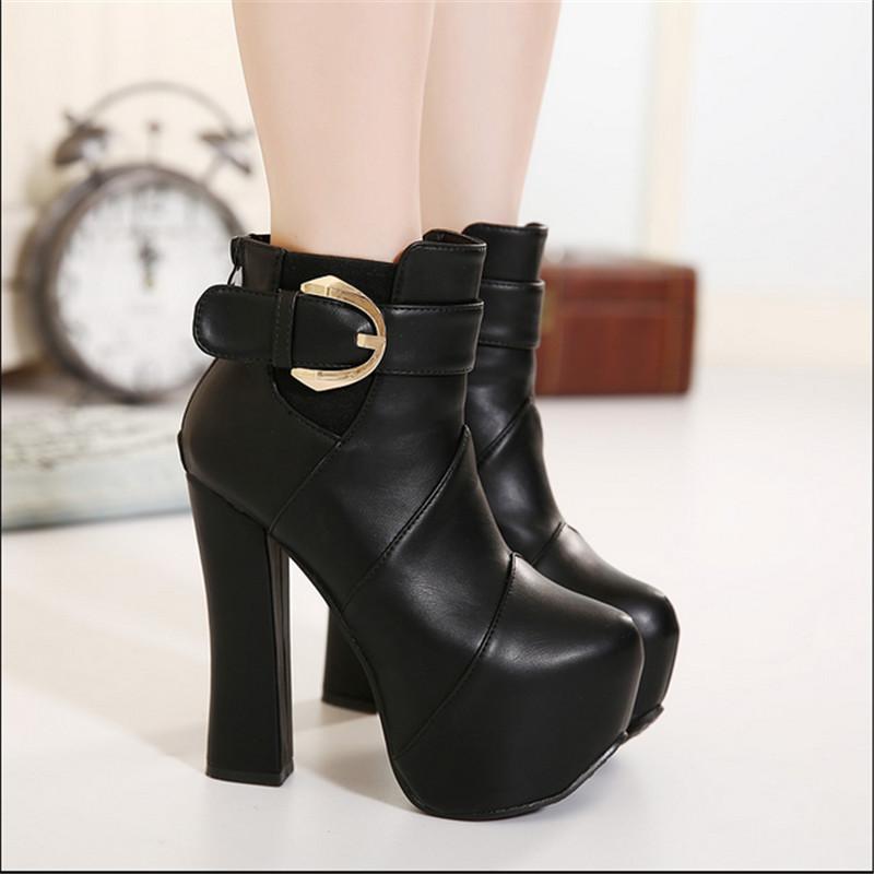 Autumn winter new high-heeled shoes women short boots thick heel platform martin boots ultra high heels female single boots