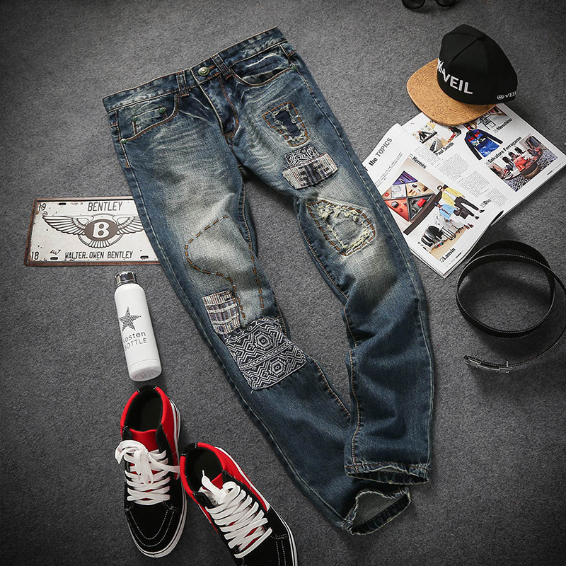 search fat thin section of the complex process of spring and summer fashion jeans folk style hip-hop trousers size P90