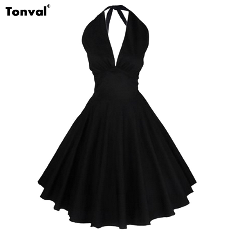 Tonval 2016 Summer Women Party Dress Clothing Vestidos Ladies Casual Rockabilly Swing Dresses Sexy Backless Retro Vintage Dress