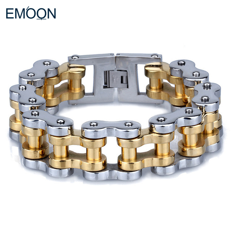 PUNK 22mm Heavy Metal Silver & Gold Wide Thick Bike Bicycle Motorcycle Chain Bracelet Biker Men Fine Jewelry(China (Mainland))