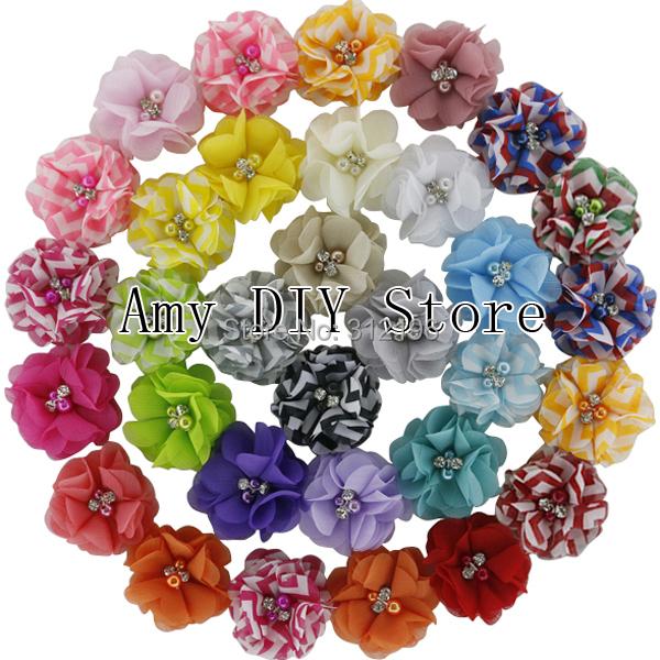 Free Shipping!60pcs/lot Fashion Handmade Pearl Chiffon Flower With Beads Rhinestone,Chevron Ballerina Flower Garment Accessories(China (Mainland))