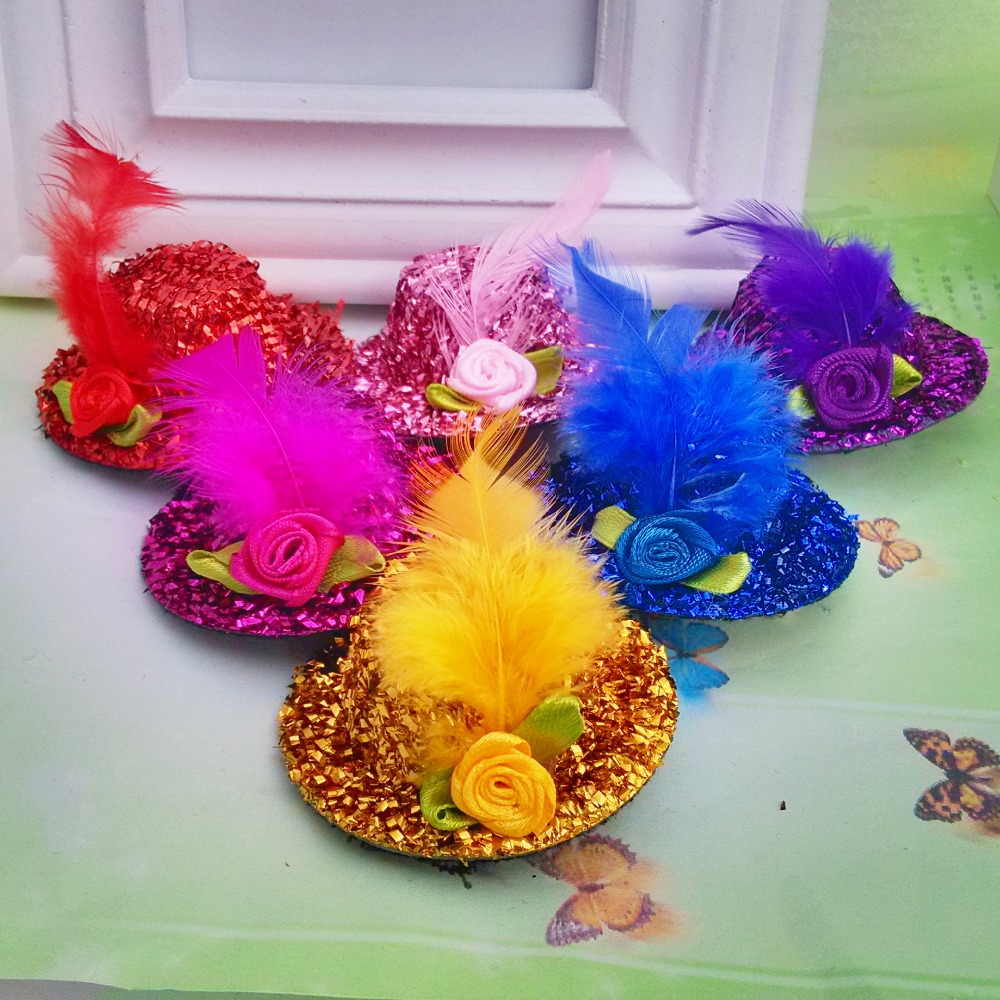 1 Pcs Size 5*5cm New Summer Style Children Party Hair Accessories Yarn Feather Flowers Mini Hat Kids Accessories Girls Hair Clip(China (Mainland))