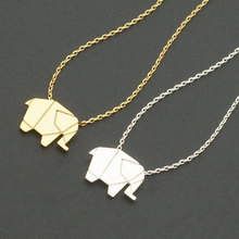Origami Elephant Geometric Origami Animal Elephant Necklace Woodland Elephant Animal Jewelry