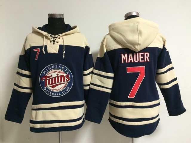 2015 New Minnesota Twins Mens Sweaters #7 Joe Mauer Blue Baseball Jersey Hoodies 3142<br><br>Aliexpress