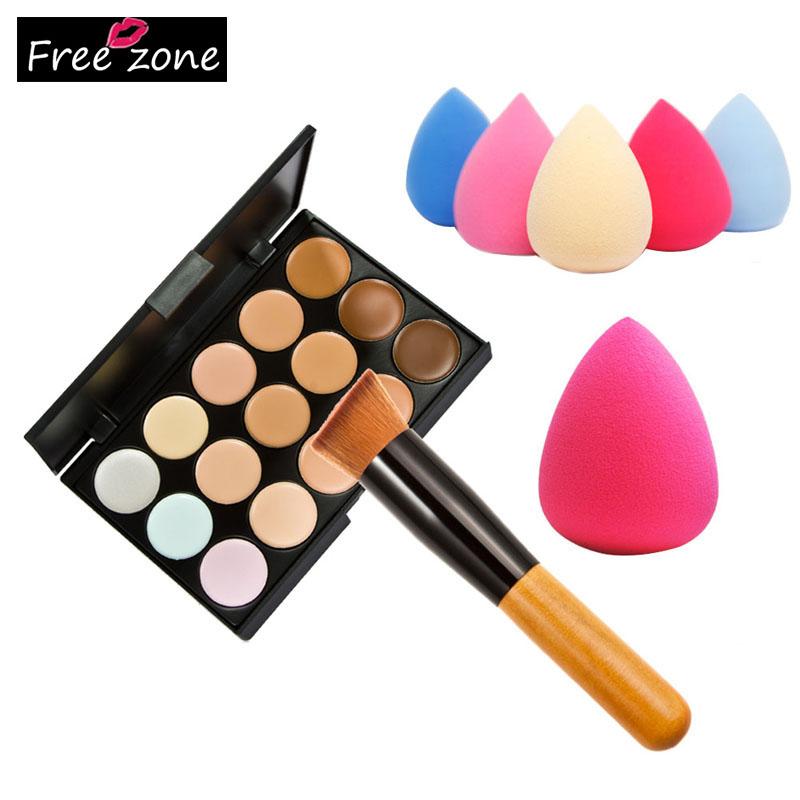 Professional 15 Colors Makeup Cream Concealer Contour Corrector Palette + Water Sponge Puff + Powder Brush Make Up Set<br><br>Aliexpress