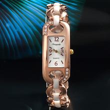 2015 rectángulo Rhinestone números aleación analógico relojes de cuarzo para mujer mujeres pulsera de la muñeca cadena de reloj del reloj envío gratis