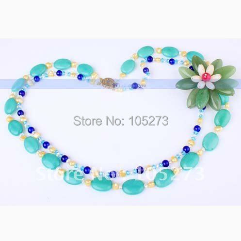 Designer 2Strds 20 Amazon Jade Pearl Flower Necklace Fashion Jewelry Multicolor Beautiful Necklace New Free Shipping FN924<br><br>Aliexpress