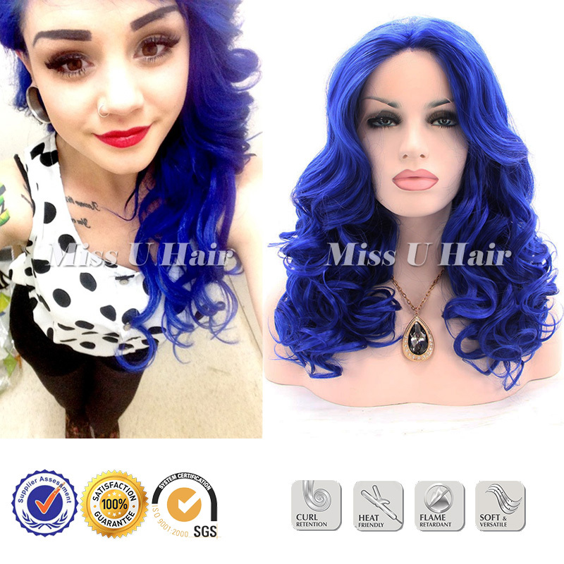 Dark blue wig kanekalon synthetic blue lace front wig cheap curly wigs for women<br><br>Aliexpress