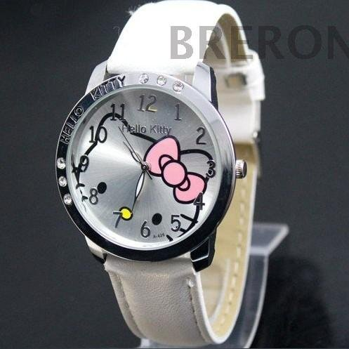 New Arrival Fashion hello kitty Wrist Watch White Leather For Children KT001-4(China (Mainland))