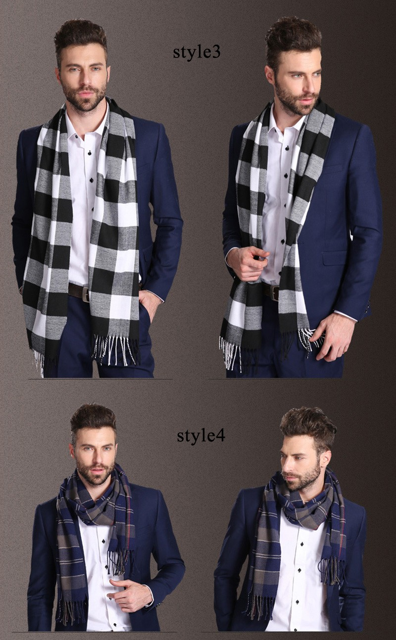 2016 Wool Plaid Blanket Men Scarf Man Scarves Winter Luxury Brand Scarf Men Fashion Designer Male Shawl Business Casual Echarpe