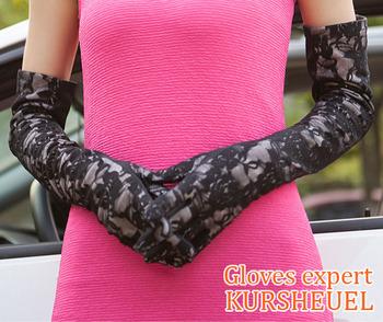 KURSHEUEL Women's Sexy Wrist Lace Long Gloves UV Protection Sun Block Wedding Bridal Golf Driving Anti-UV Slip-resistant