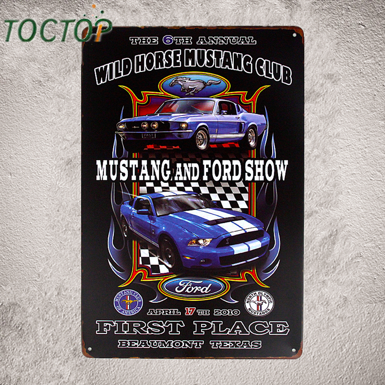 Mustang Show Vintage Tin Sign Muscle Car Garage Poster Pub Bar Home Wall Decor I187