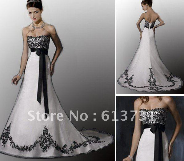 Wholesale empire sweetheart court train organza embroidery for Cheap black and white wedding dresses