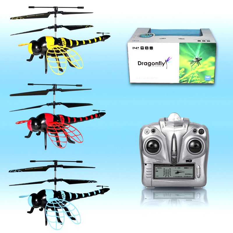 Gift Toys Rc Radio Control Flying Dragonfly Model Helicopter USB Charge Resistant Electric Gyroscope Fly Insect Red Yellow Blue(China (Mainland))