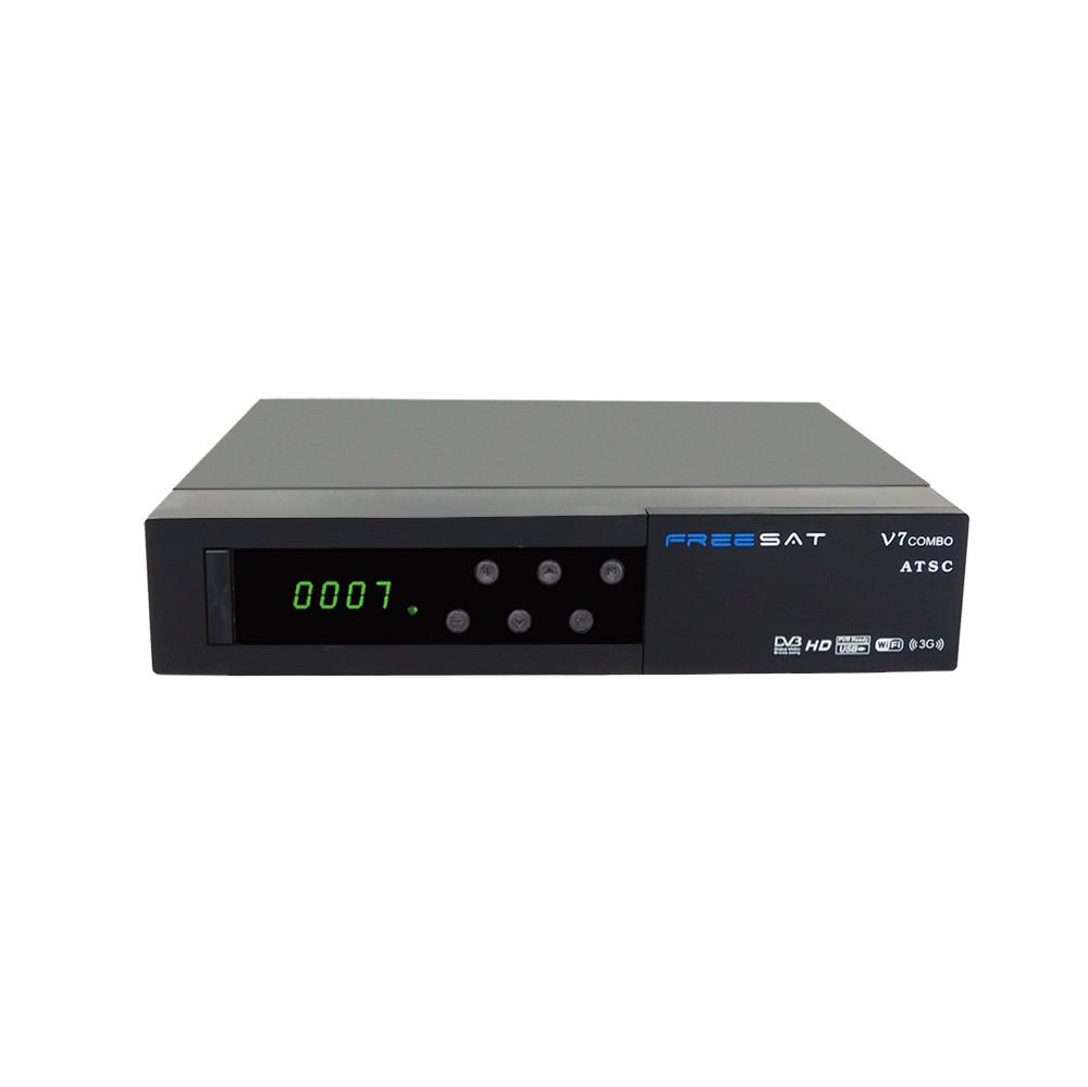 North America DVB-S2 ATSC Satellite TV Receiver Freesat V7 Combo ATSC Support Powervu CCcam Biss for Mexico Canada+USB WIFI
