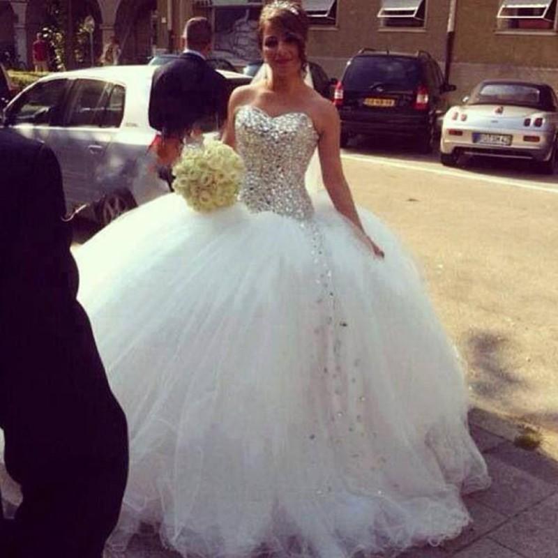 Luxury 2016 wedding dresses bling bling ball gown for Big bling wedding dresses