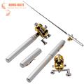 Mini Fishing Tackle Portable Aluminium Alloy Pen Shape Fishing Rod Pole Reel With Reinforced Plastic Fishing